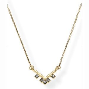 🆕 Crystal Accented Gold Chevron Pendant Necklace